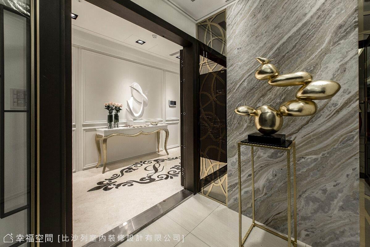 結合內外玄關的二進式規劃,在大理石與藝品的妝點下,創造優雅慢活的迎賓氛圍。