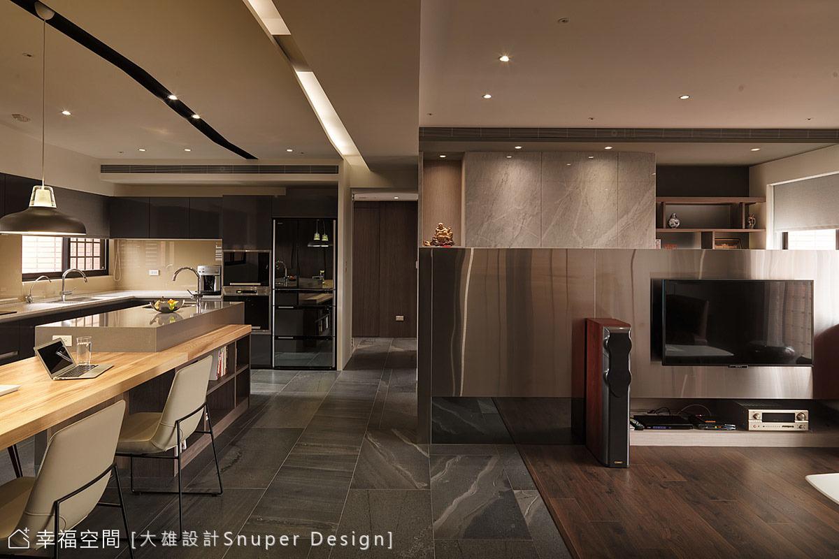 開放式廚房中島 譜出幸福藍調