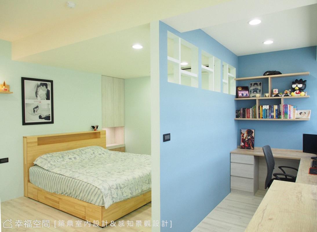 築鼎視覺空間團隊依照為屋主需求規劃主卧室,考量男屋主會把工作帶回家,女屋主希望有個更衣室,又希望有個不被干擾的睡眠空間,所以就用一道牆隔出了工作區和睡眠區。