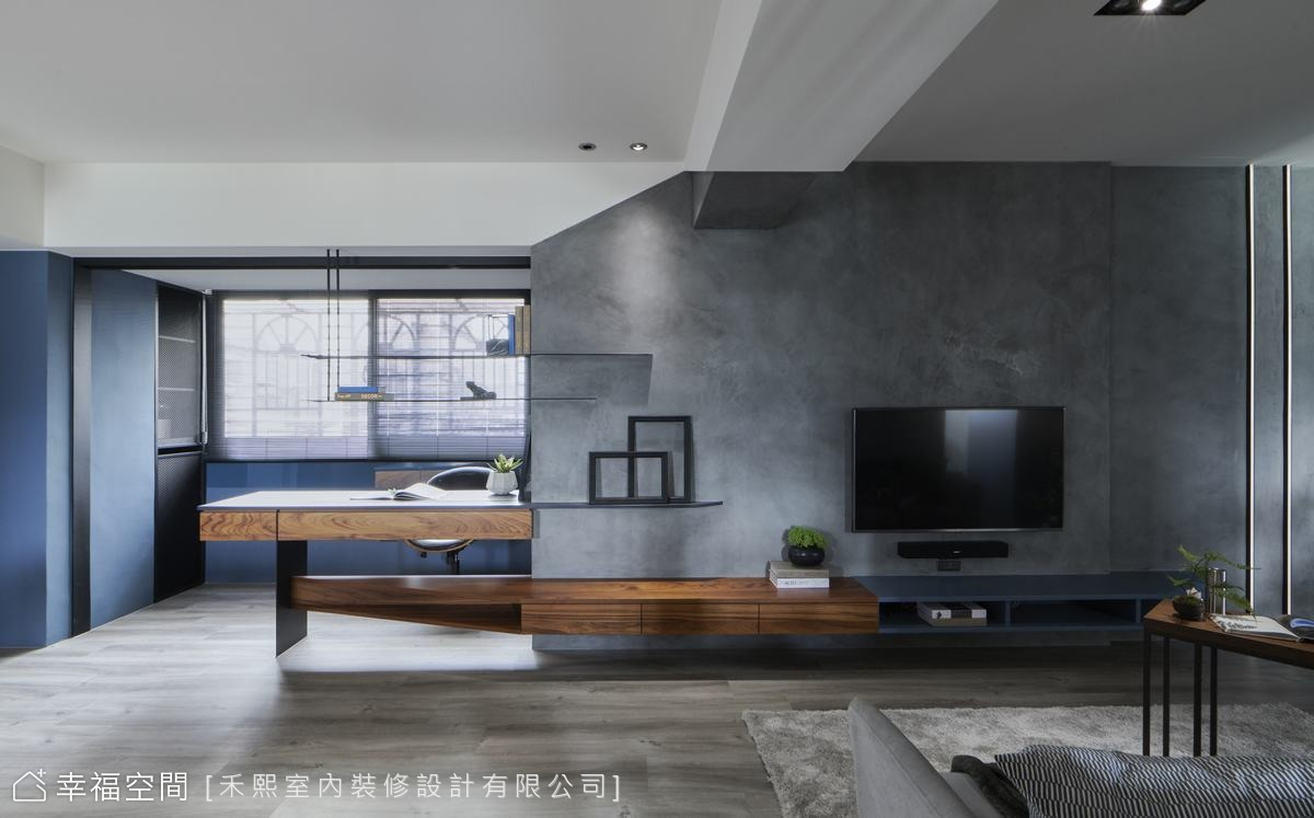 線性設計延續小宅藝術性 21坪藍調工業宅