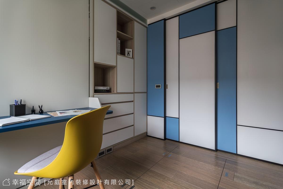 和室男孩房變身多功能空間配置,整合書房與睡眠兩用機能,架高地板拉到48公分,增加空間收納量。