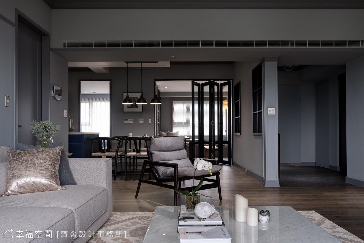 莫蘭迪灰為空間底蘊抹上低調的優雅,搭配溫潤木地坪,構築出清朗的歲月靜好。