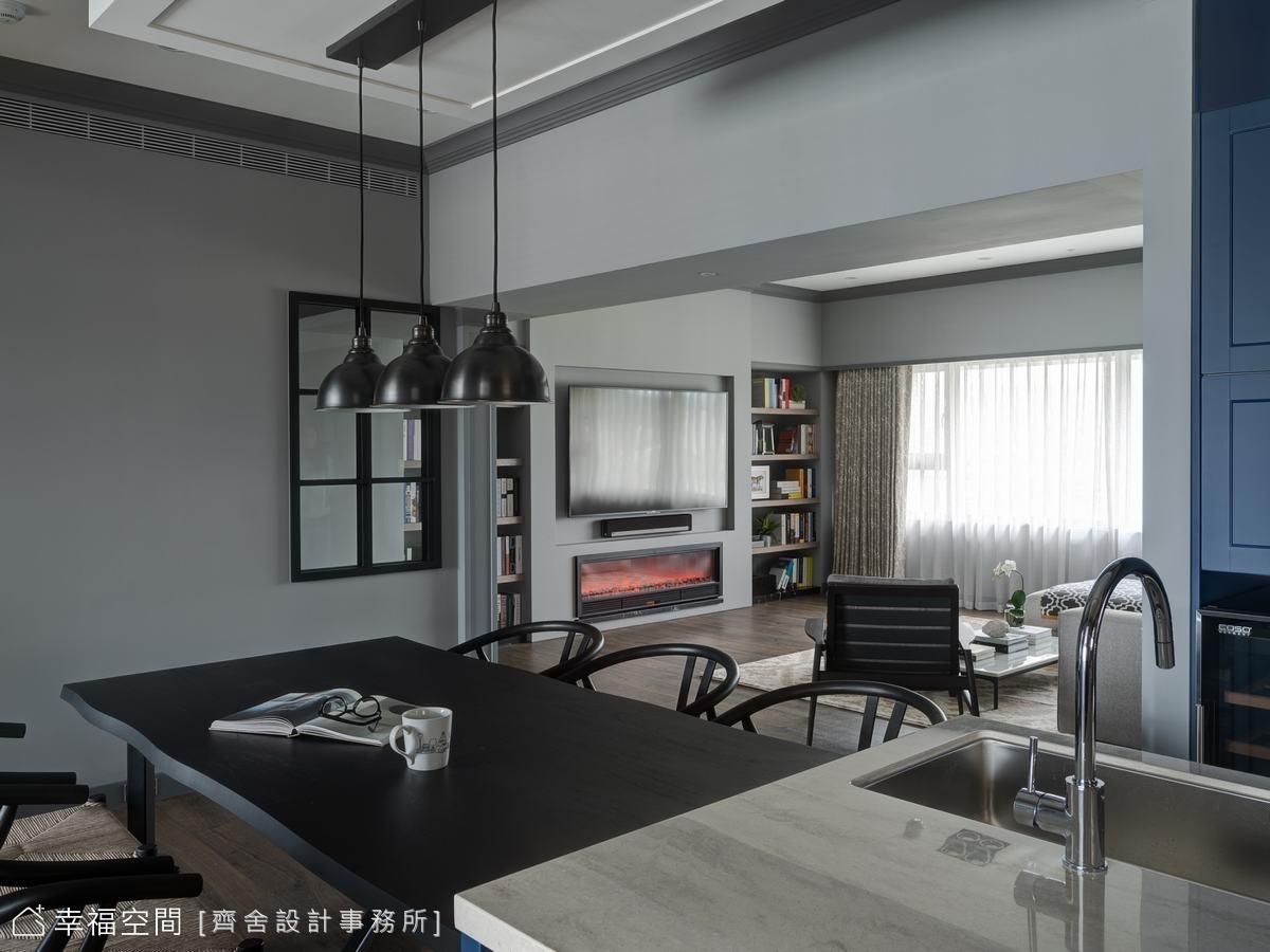 開放式的設計手法,將客、餐廳串連一起,形成軒敞無壓的生活空間。